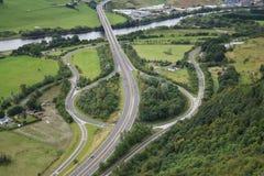 Luftaufnahme der Straßenverzweigung stockfoto