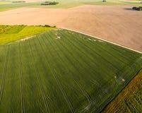 Luftaufnahme des Ackerlands Stockfotos