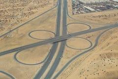Luftaufnahme des Datenbahnaustausches Stockbild