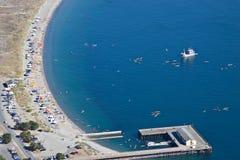 Luftaufnahme des Fort Worden Strandes Stockfotografie