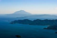 Luftaufnahme des Mount Athos Stockbild