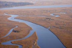 Luftaufnahme des Salzsumpfes Stockfotografie