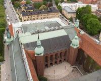 Luftaufnahme des Stockholm-Rathauses Stockbilder