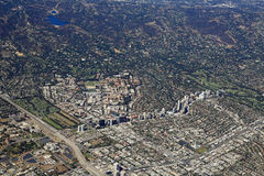 Luftaufnahme des Westwood Dorfs, Kalifornien Stockfoto