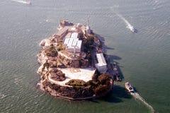 Luftaufnahme von Alcatraz Stockfotos