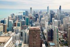 Luftaufnahme von Chicago im Stadtzentrum gelegen stockfotografie