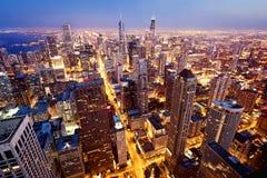 Luftaufnahme von Chicago im Stadtzentrum gelegen Stockbilder