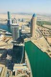 Luftaufnahme von im Stadtzentrum gelegenem Dubai Stockbilder