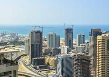 Luftaufnahme von im Stadtzentrum gelegenem Dubai Lizenzfreies Stockbild