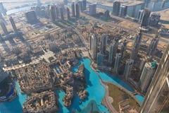 Luftaufnahme von im Stadtzentrum gelegenem Dubai Lizenzfreie Stockfotos