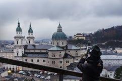 Luftaufnahme von Salzburg lizenzfreies stockbild