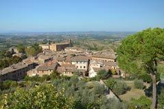 Luftaufnahme von San Gimignano ummauerte mittelalterliche Stadt Stockbild