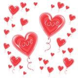 Luftballone in Form einer Herzfliege im Himmel Ein Symbol der Liebe und der Liebhaber Tag des Valentinsgru?-s Auch im corel abgeh lizenzfreie abbildung