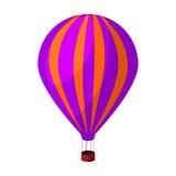 Luftballong för att gå Transport arbetar på varm luft Enkel symbol för transport i materiel för symbol för tecknad filmstilvektor Royaltyfri Foto