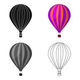 Luftballong för att gå Transport arbetar på varm luft Enkel symbol för transport i materiel för symbol för tecknad filmstilvektor Royaltyfri Fotografi