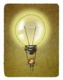 Luftballong för ljus kula med en affärsman som hänger från den royaltyfri illustrationer