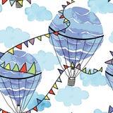 Luftballong i himlen med cludbakgrund stock illustrationer
