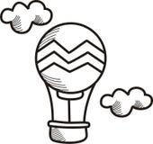 Luftballong som flyiing upp på himlen Arkivbilder