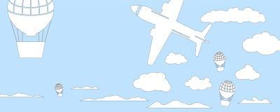 Luftballonger och flygplanhorisontalvektorillustration för banermall Fotografering för Bildbyråer