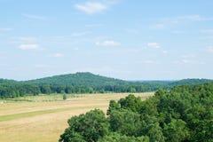 Luftbild, das über ländlichem Gebiet in Gettysburg, Pennsylvania schaut lizenzfreies stockbild