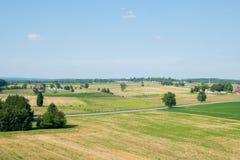Luftbild, das über ländlichem Gebiet in Gettysburg, Pennsylvania schaut stockfoto