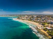 Luftbild von Königen setzen, Caloundra, Australien auf den Strand Lizenzfreie Stockfotografie