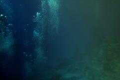 Luftblasen der Taucher unter Korallen Stockfotos