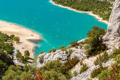 Luftblick des Sees von Sainte Croix in Provence Frankreich Lizenzfreie Stockbilder