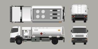 Luftbränslelastbil Framdel-, sido-, överkant- och baksidasikt Underhåll av flygplan Industriell realistisk ritning 3d royaltyfri illustrationer