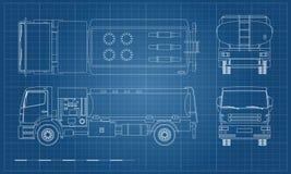 Luftbränslelastbil i översiktsstil Framdel-, sido-, överkant- och baksidasikt Underhåll av flygplan Flygfälttransport stock illustrationer