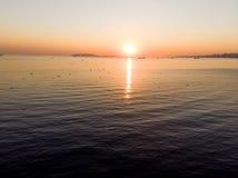 Luftbrummen-Ansicht des Sonnenuntergangs mit Seemöwen an der goldenen Stunde stockfotos