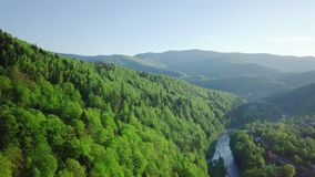 Luftbrummen-Gesamtlängen-Ansicht: Flug über Frühlingsbergdorf mit Wald im weichen Licht des Sonnenaufgangs Alpen, die Schweiz stock footage