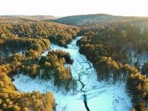 Luftbrummen schoss vom Wicklungsfluß durch Winterwald Stockfotografie