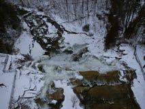 Luftbrummen schoss von Chittenango-Wasserfall im Winter Stockfotos