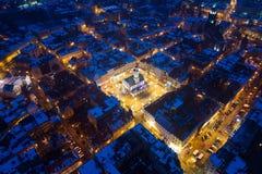 Luftbrummenansicht über alte Stadt und Hauptplatz Gliwices lizenzfreie stockfotografie