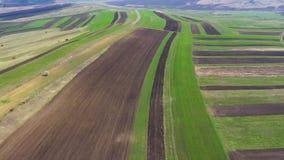Luftbrummenansicht von landwirtschaftlichen Feldern von den Ernten gepflogen und für im Frühjahr pflanzen vorbereitet stock footage