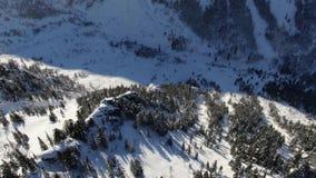 Luftbrummenbewegung um eine Klippe auf einem schneebedeckten Berg unter dem Wald stock video footage
