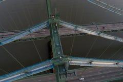 Luftbrummenbild der Delaware-Denkmal-Brücke Stockfotografie
