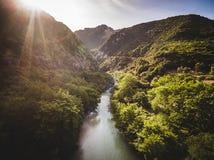 Luftbrummenbild eines Flussausschnitts durch einen Wald in Griechenland lizenzfreie stockbilder