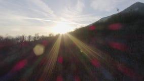 Luftbrummenflug establisher über schneebedecktem Waldholz bei Sonnenuntergang Winterschnee in der Gebirgsnatur draußen sonnensche stock video