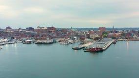 Luftbrummengesamtlänge des Portlands, Maine-Ufergegend stock footage