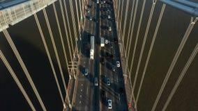 Luftbrummenschuß von George Washington Bridge stock video footage