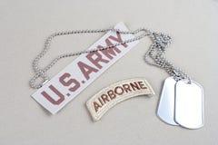 Luftburen flik för USA-ARMÉ med hundetiketten Arkivfoton
