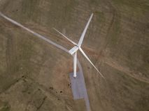 Luftder spitze Ansicht unten der Windkraftanlage in Oklahoma, USA Stockfotografie