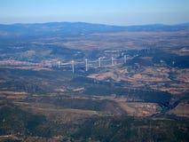 Lufteintragfaden der Brücke von Millau Lizenzfreie Stockbilder