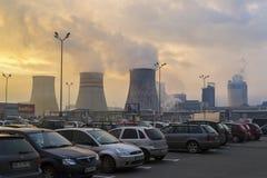 Luftförorening från den Azomures gödningsmedelväxten Royaltyfria Bilder