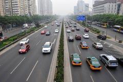 Luftförorening i Peking Arkivfoto