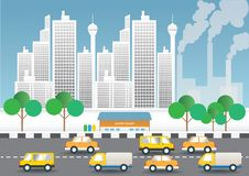 Luftförorening- och trafikvillkor i huvudstaden stock illustrationer
