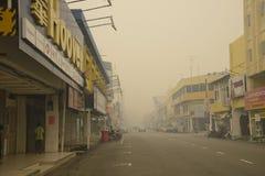 Luftföroreningogenomskinlighetsfara på Malaysia Fotografering för Bildbyråer