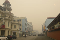 Luftföroreningogenomskinlighetsfara på Malaysia Royaltyfri Fotografi